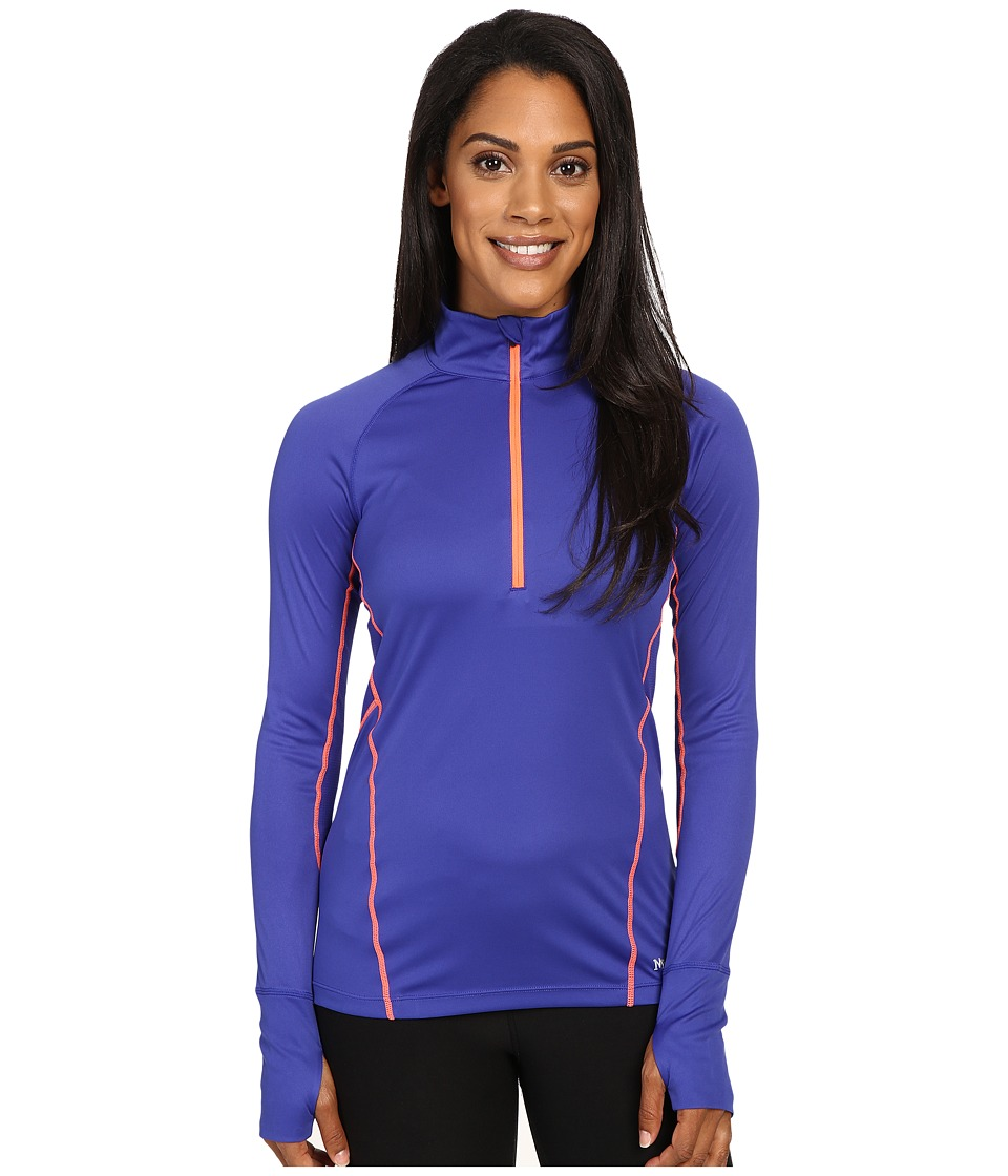 Marmot - Interval Half-Zip Long Sleeve (Royal Night/Neon Coral) Women's Long Sleeve Pullover