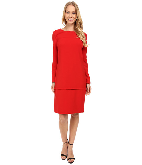 Anne Klein - Milano Stretch Long Sleeve Horizontal Seam Shift Dress (Memling Red) Women