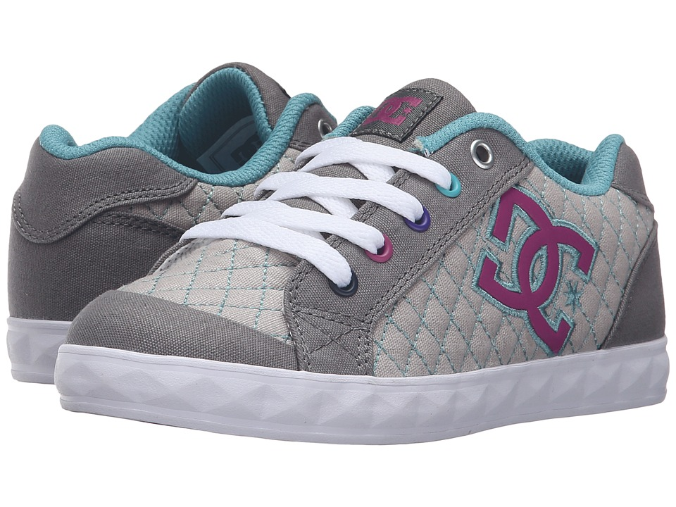 DC Kids - Chelsea Stud (Little Kid) (Grey/Grey/Blue) Girls Shoes