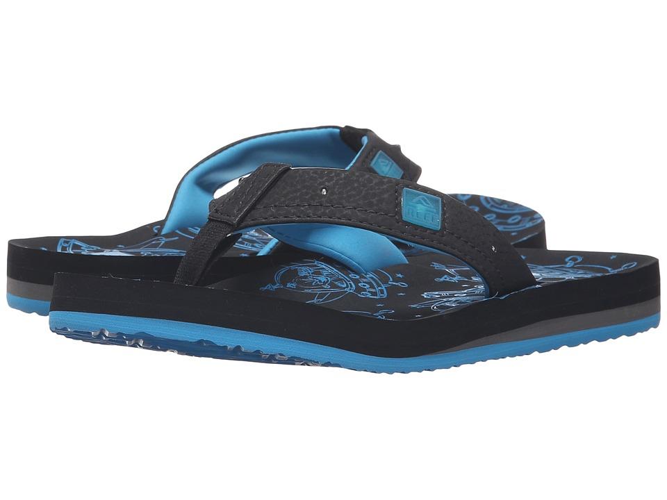 Reef Kids Ahi Light Up Prints (Infant/Toddler/Little Kid/Big Kid) (Black/Blue) Boys Shoes