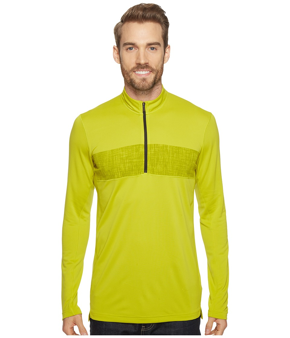 adidas Outdoor - 1/2 Zip Long Sleeve Top (Unity Lime) Men's Long Sleeve Pullover