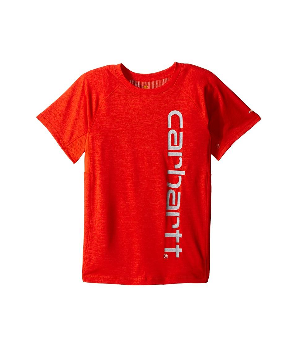 Carhartt Kids - Force Pieced Raglan Tee (Big Kids) (Orange.com Heather) Boy's Short Sleeve Pullover