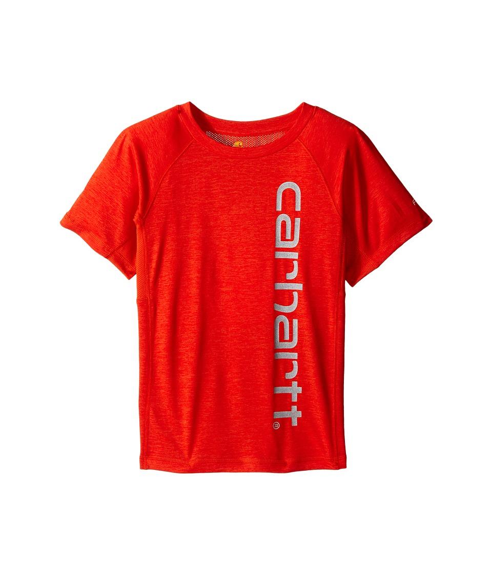 Carhartt Kids - Force Pieced Raglan Tee (Toddler/Little Kids) (Orange.com Heather) Boy's Short Sleeve Pullover