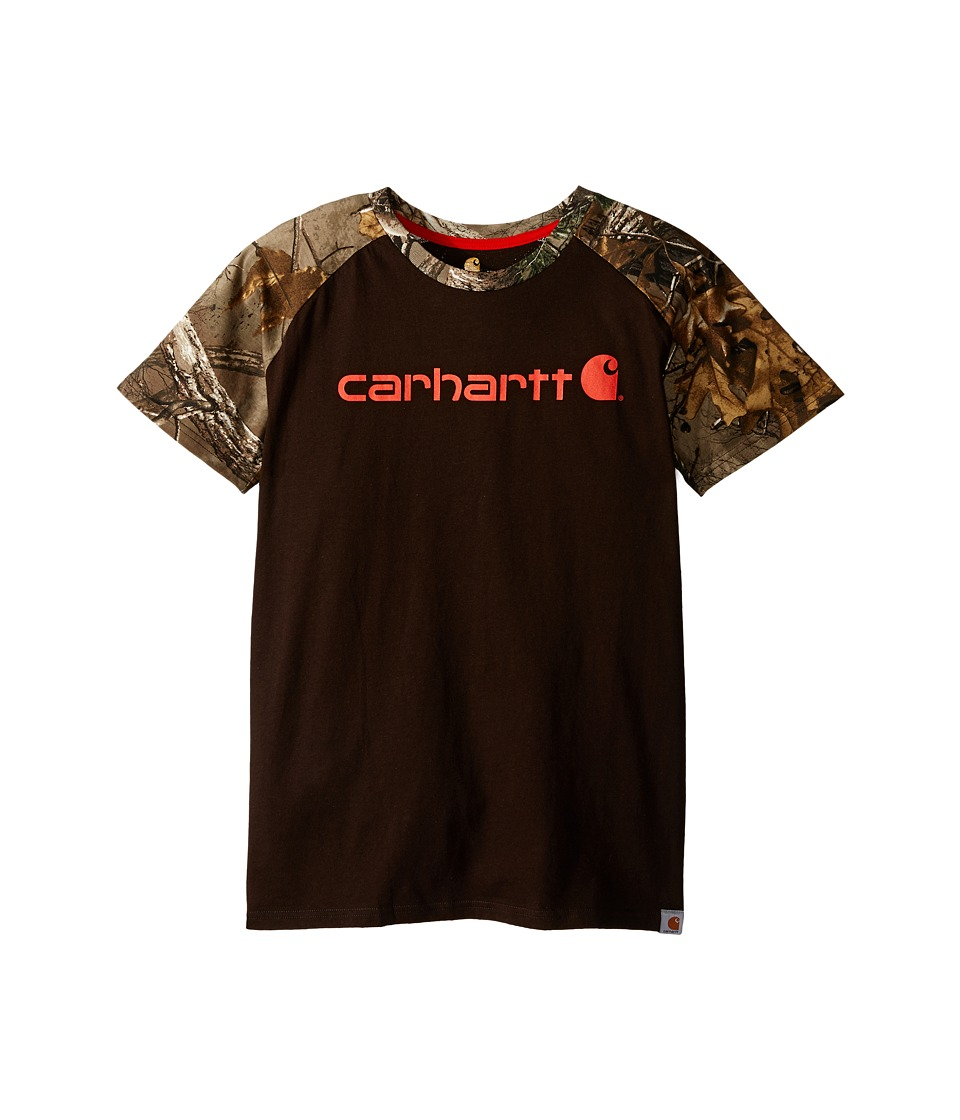 Carhartt Kids - Camo Raglan Tee (Big Kids) (Mustang Brown) Boy's Short Sleeve Pullover