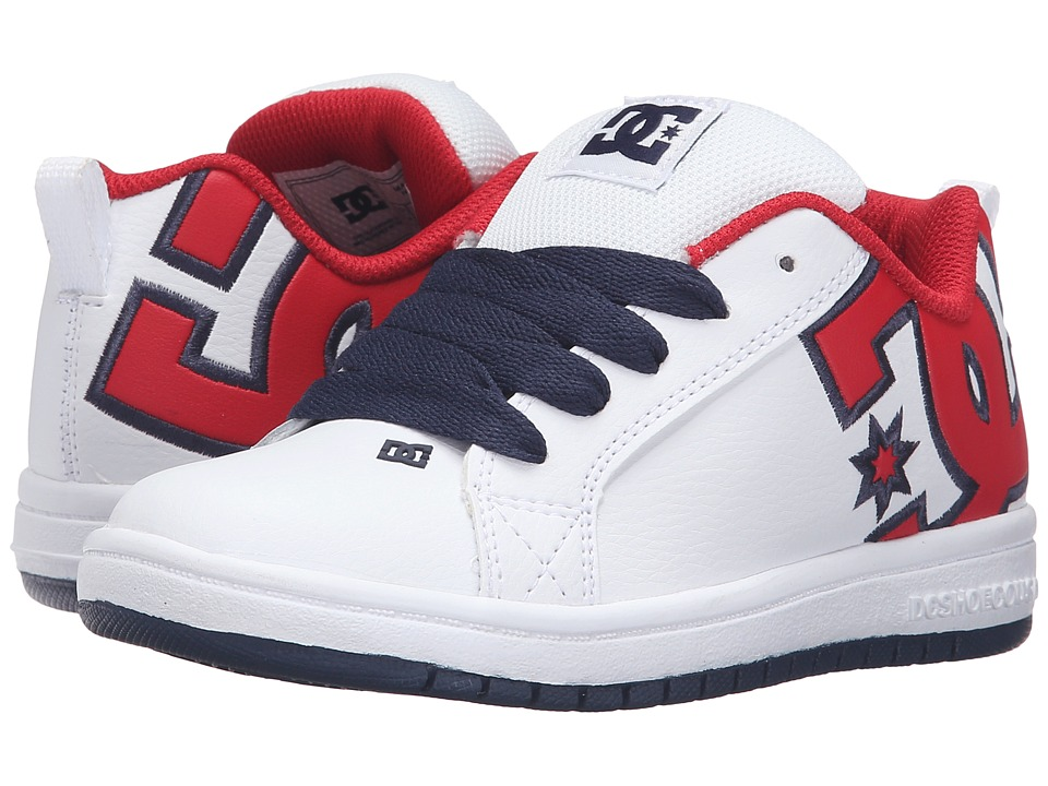 DC Kids - Court Graffik SE (Little Kid) (White/Red/Black) Boys Shoes