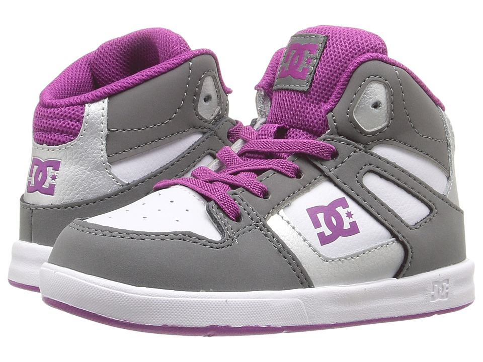 DC Kids Rebound UL (Toddler) (Grey/Purple) Girls Shoes