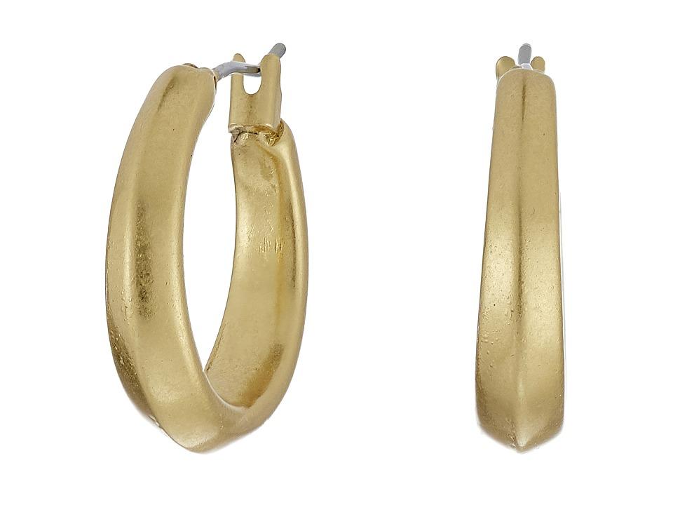 LAUREN Ralph Lauren - Modern Leaves Small Gold Hoop Earrings (Gold) Earring