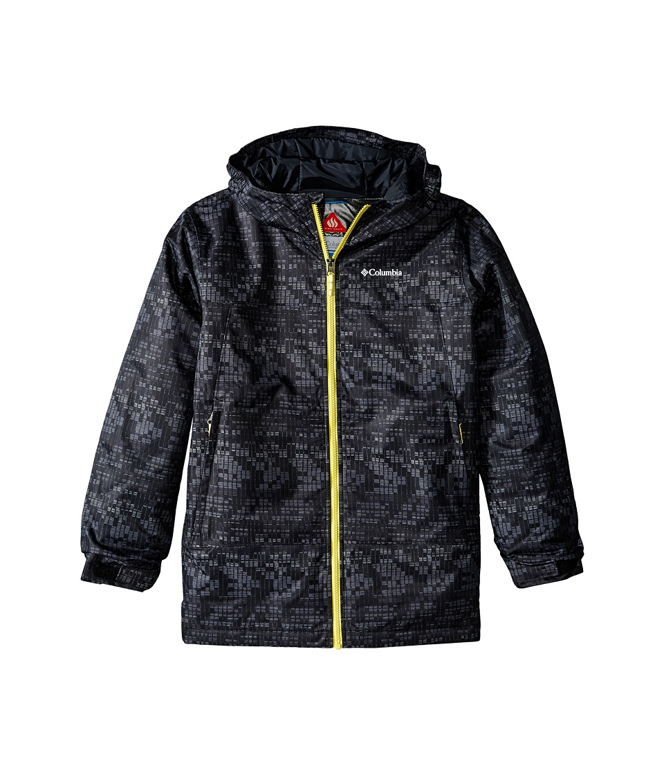 Columbia Kids - Wrecktangle Jacket (Little Kids/Big Kids) (Black Matrix Print/Mineral Yellow) Boy's Coat