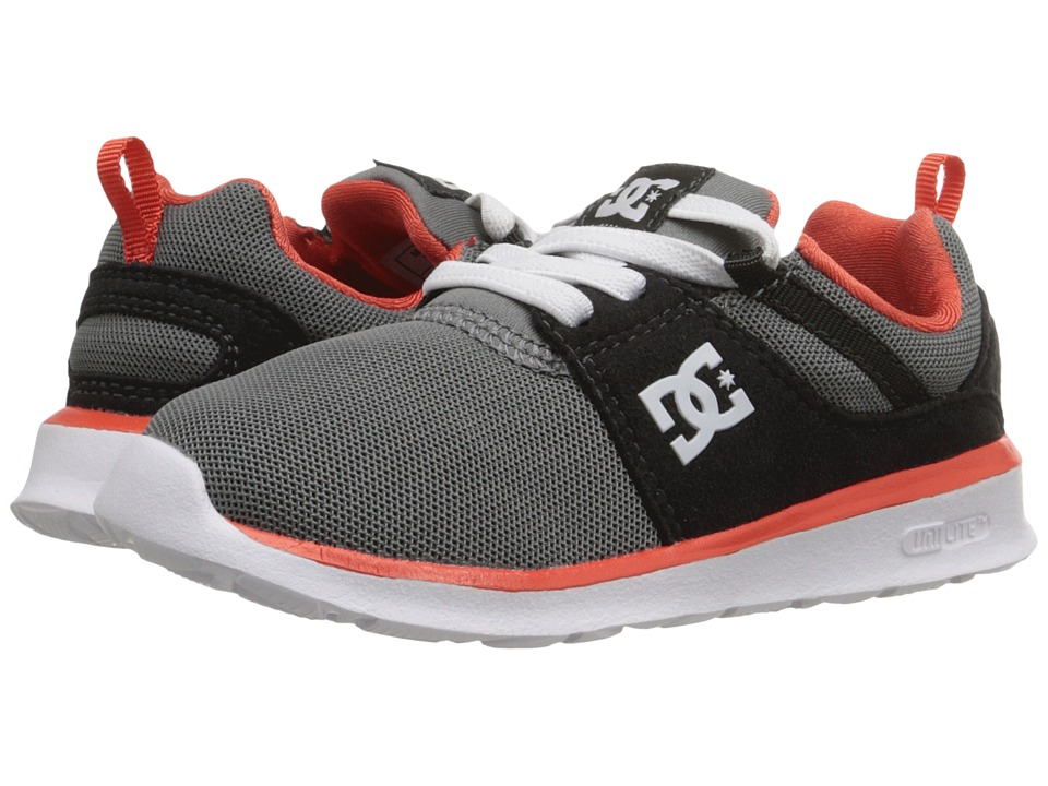 DC Kids - Heathrow (Toddler) (Grey/Orange/Grey) Boys Shoes