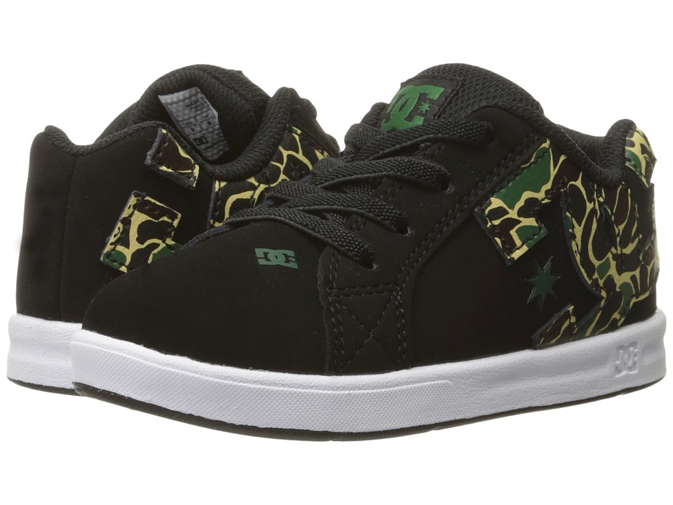 DC Kids - Court Graffik Elastic UL (Toddler) (Black/Camo) Boys Shoes