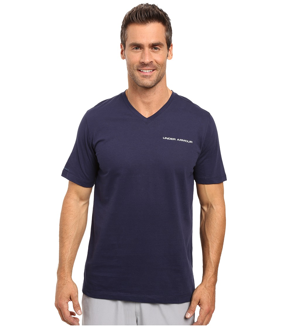 Under Armour - UA Charged Cotton(r) Microthread V-Neck Short Sleeve Tee (Midnight Navy/Steel) Men's T Shirt