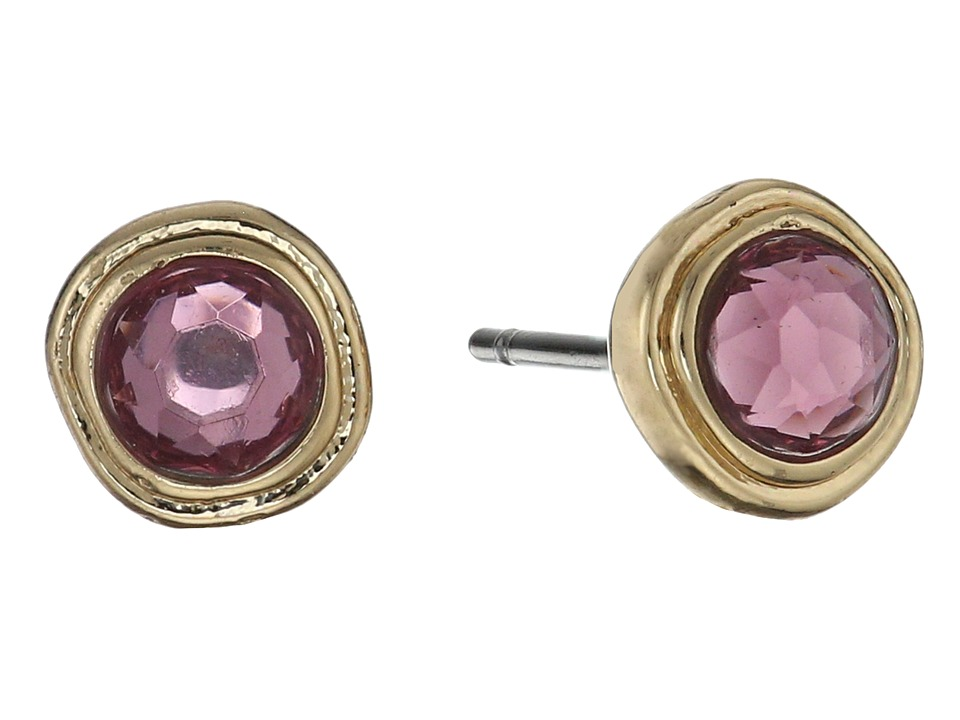 LAUREN Ralph Lauren - Pink Sands Round Stone Small Stud Earrings (Pink/Gold) Earring