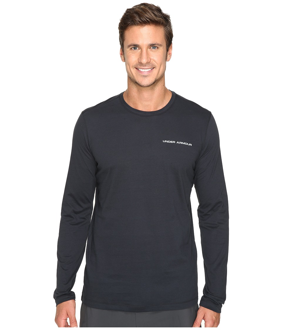 Under Armour - UA Charged Cotton Microthread Long Sleeve Tee (Black/Steel) Men's T Shirt
