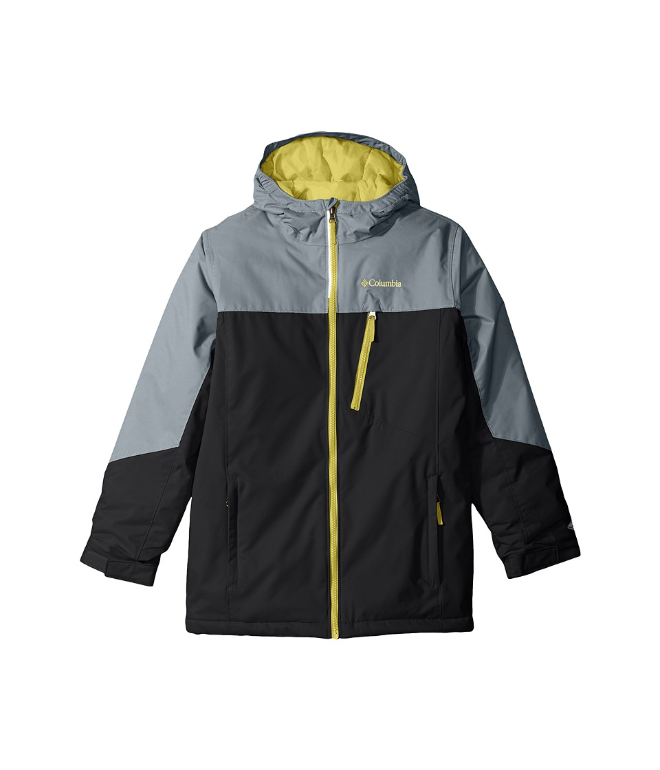 Columbia Kids - Double Grab Jacket (Little Kids/Big Kids) (Black/Grey Ash/Mineral Yellow) Girl's Coat