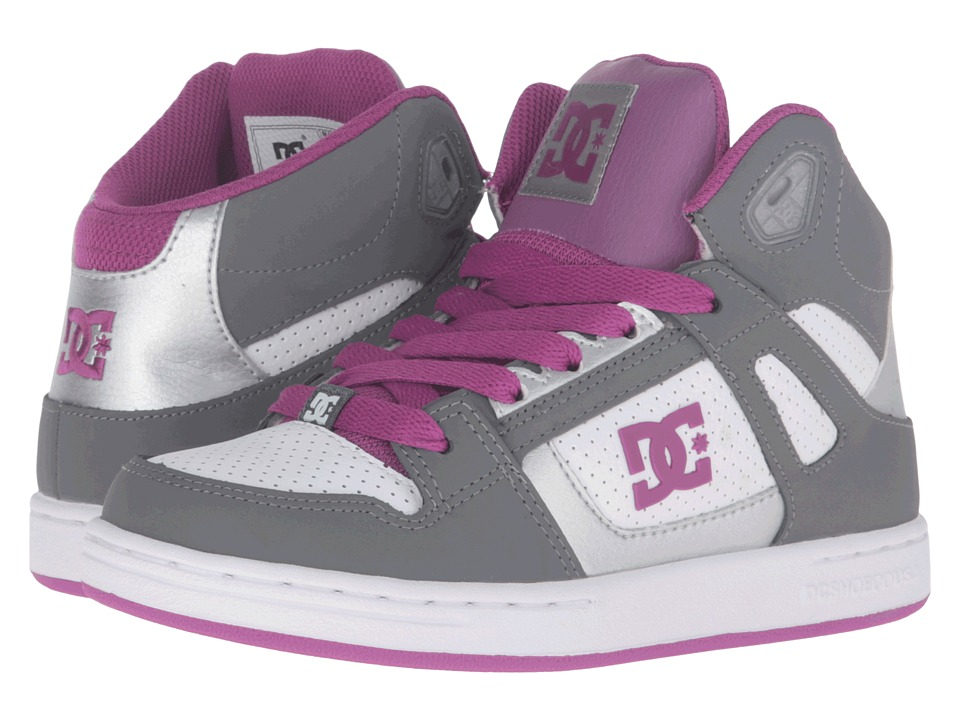 DC Kids - Rebound (Big Kid) (Light Grey/Purple) Girls Shoes