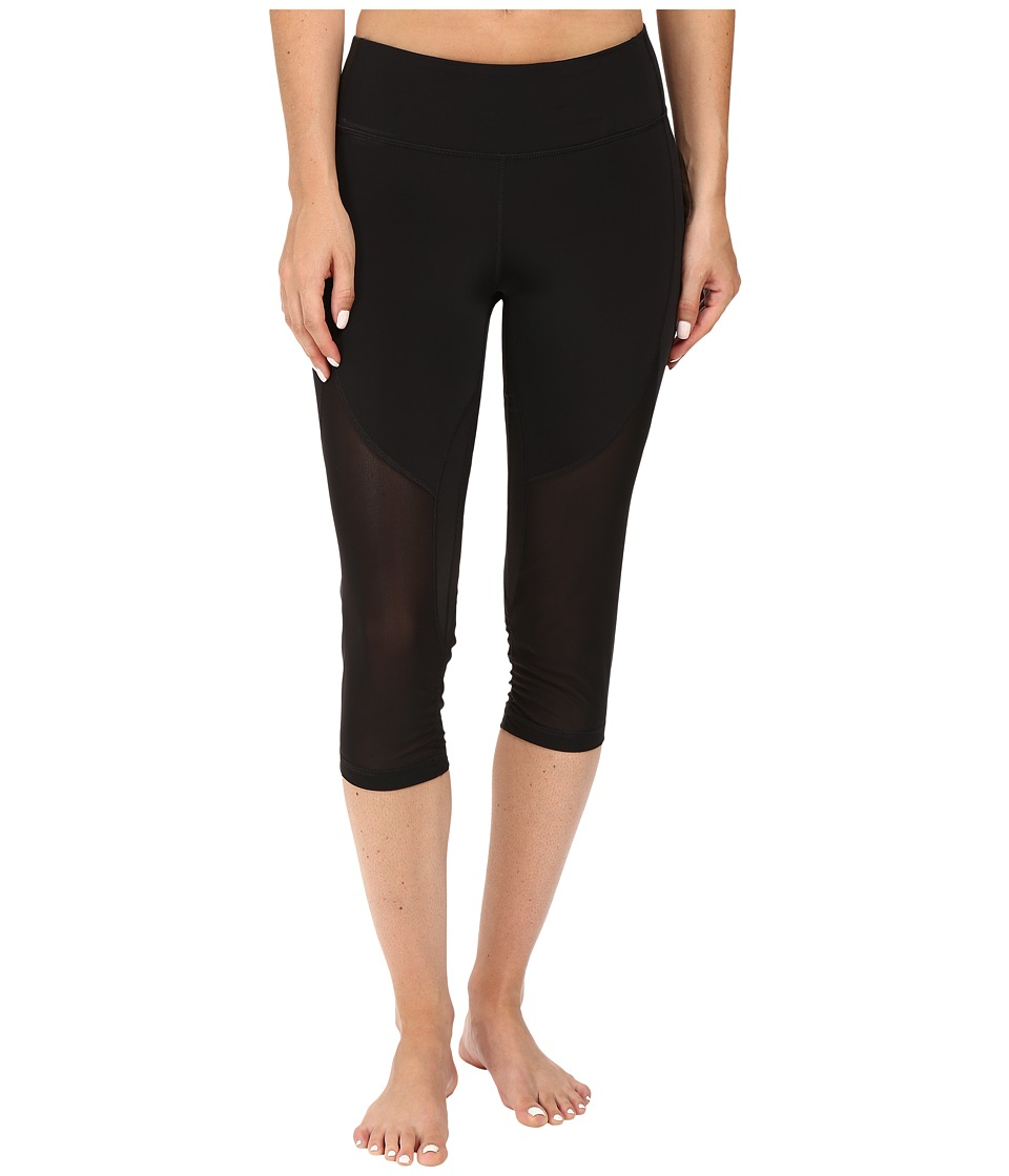 Zobha - Fitted Capris with Contrast Mesh (Black) Women's Capri