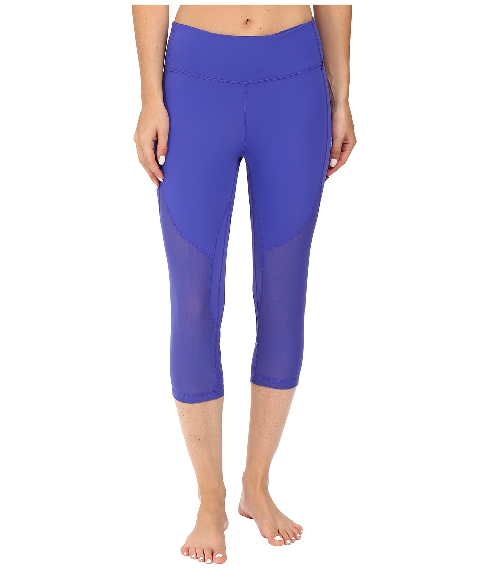 Zobha - Fitted Capris with Contrast Mesh (Royal Blue) Women's Capri