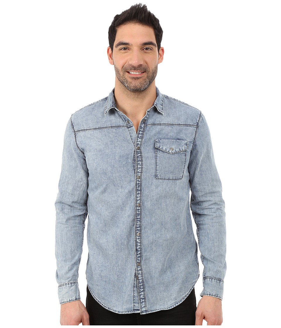 Calvin Klein Jeans - Static Blue Wash Shirt (Static Blue) Men's Long Sleeve Button Up