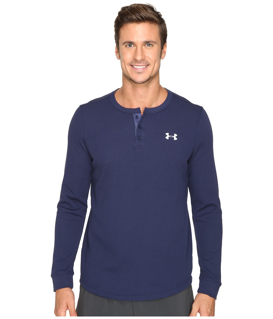 Under Armour - UA Waffle Henley (Midnight Navy/Faded Ink/Steel) Men's Long Sleeve Pullover