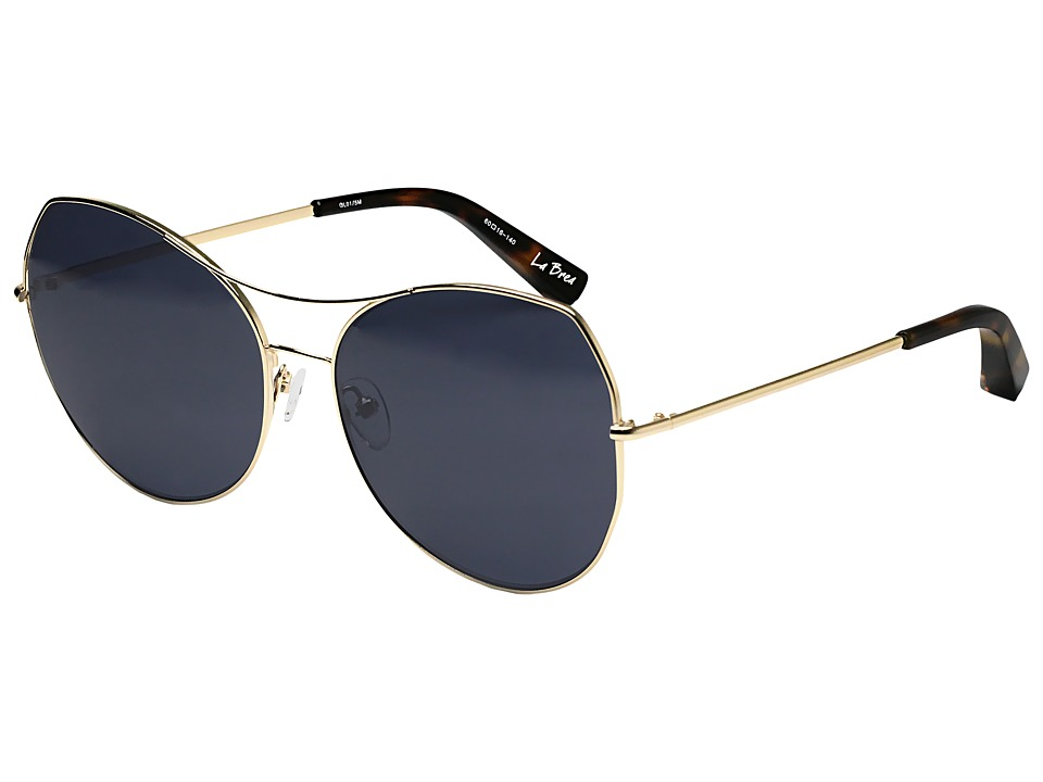Elizabeth and James - La Brea (Shiny Gold/Blue Mono Lens) Fashion Sunglasses
