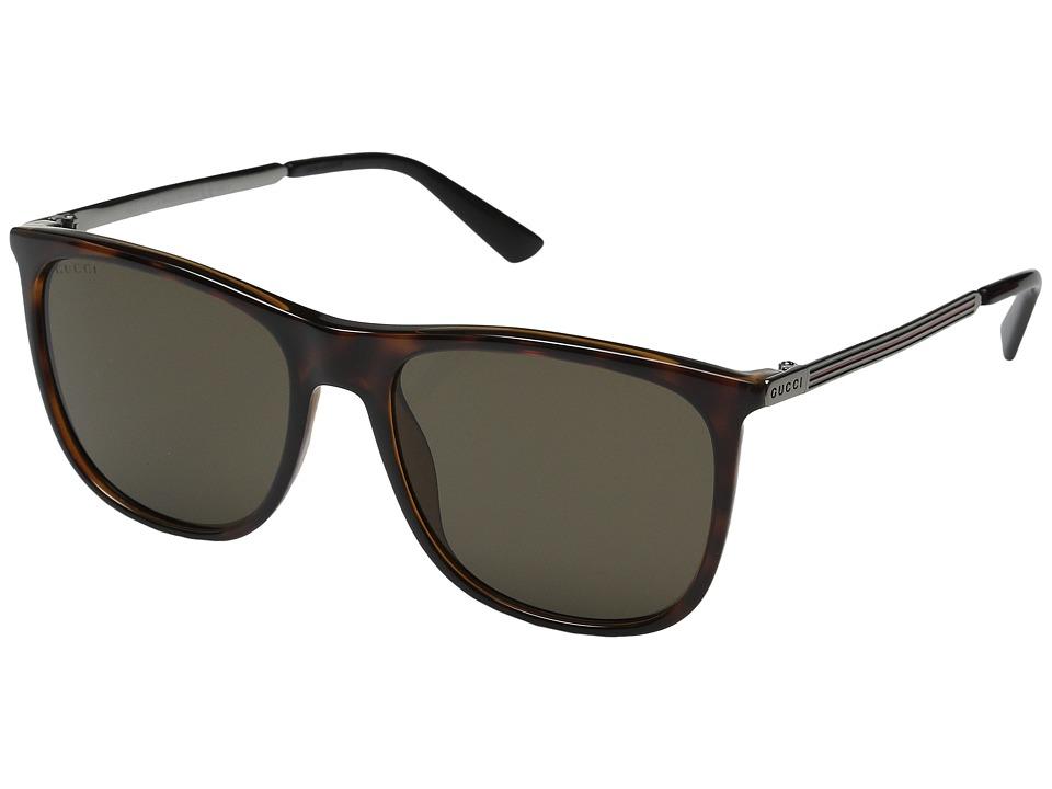 Gucci - GG 1129/S (Havana Ruthenium/Brown) Fashion Sunglasses