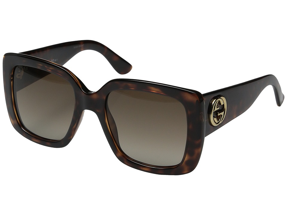 Gucci - GG 3814/S (Dark Havana/Brown Gradient) Fashion Sunglasses
