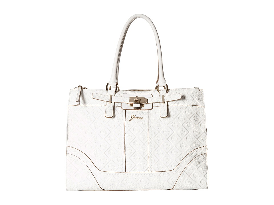 GUESS - La Vida Logo Status Carryall (White) Tote Handbags