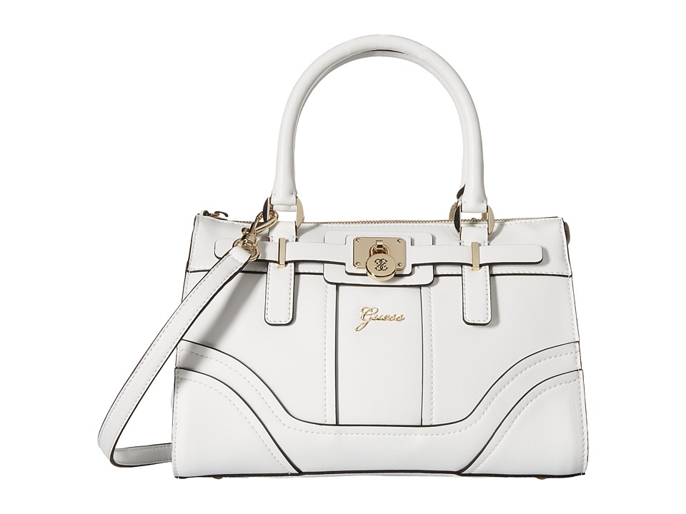 GUESS - Greyson Small Satchel (White) Satchel Handbags