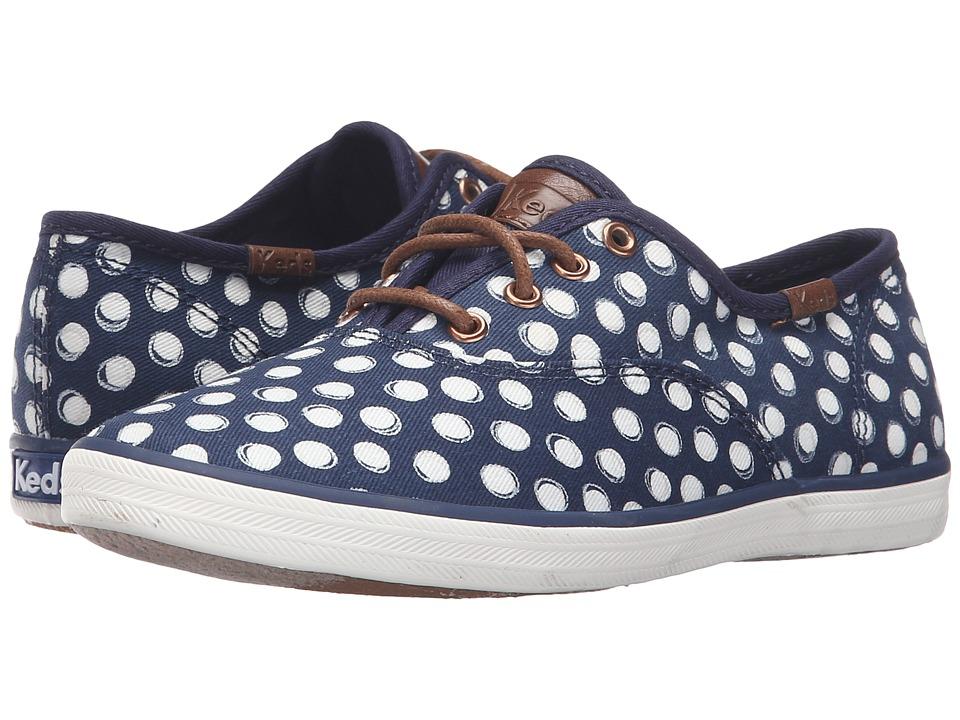 Keds Kids - Champion Prints (Little Kid/Big Kid) (Navy Dots) Girl's Shoes