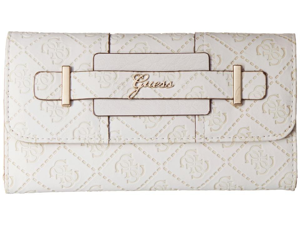 GUESS - La Vida Logo Slim Clutch (White) Clutch Handbags