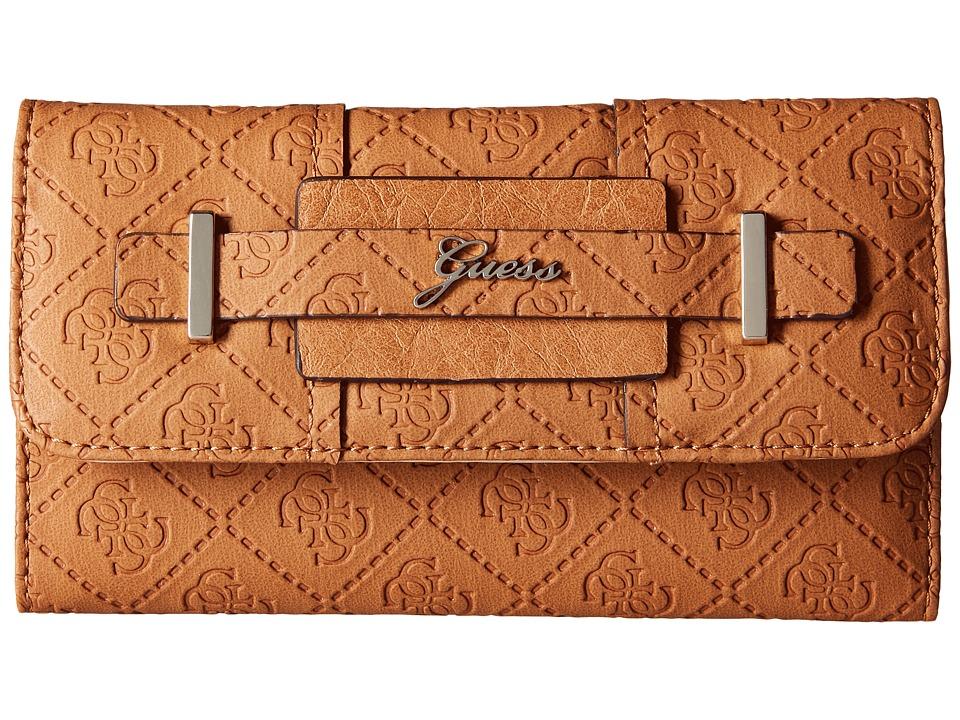GUESS - La Vida Logo Slim Clutch (Cognac) Clutch Handbags