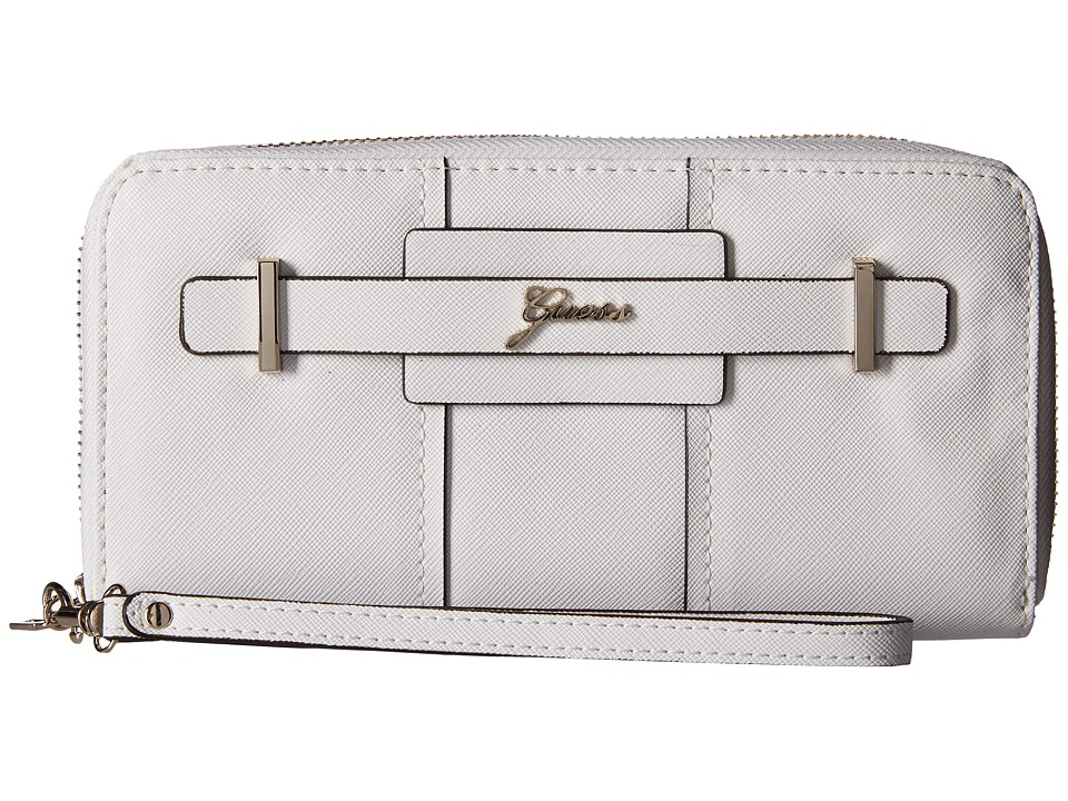 GUESS - Greyson SLG Large Zip Around (White) Handbags