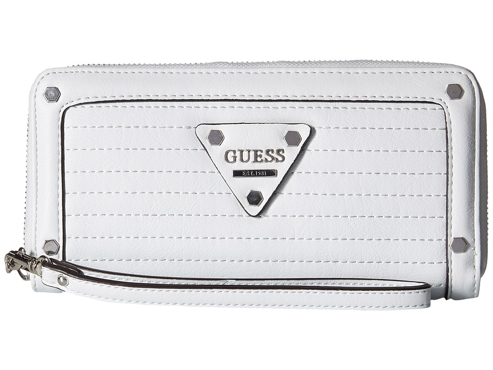 GUESS - Presley Large Zip Around (White) Handbags