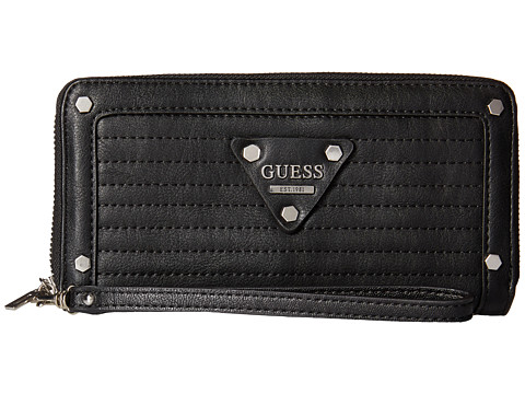 GUESS - Presley Large Zip Around (Black) Handbags