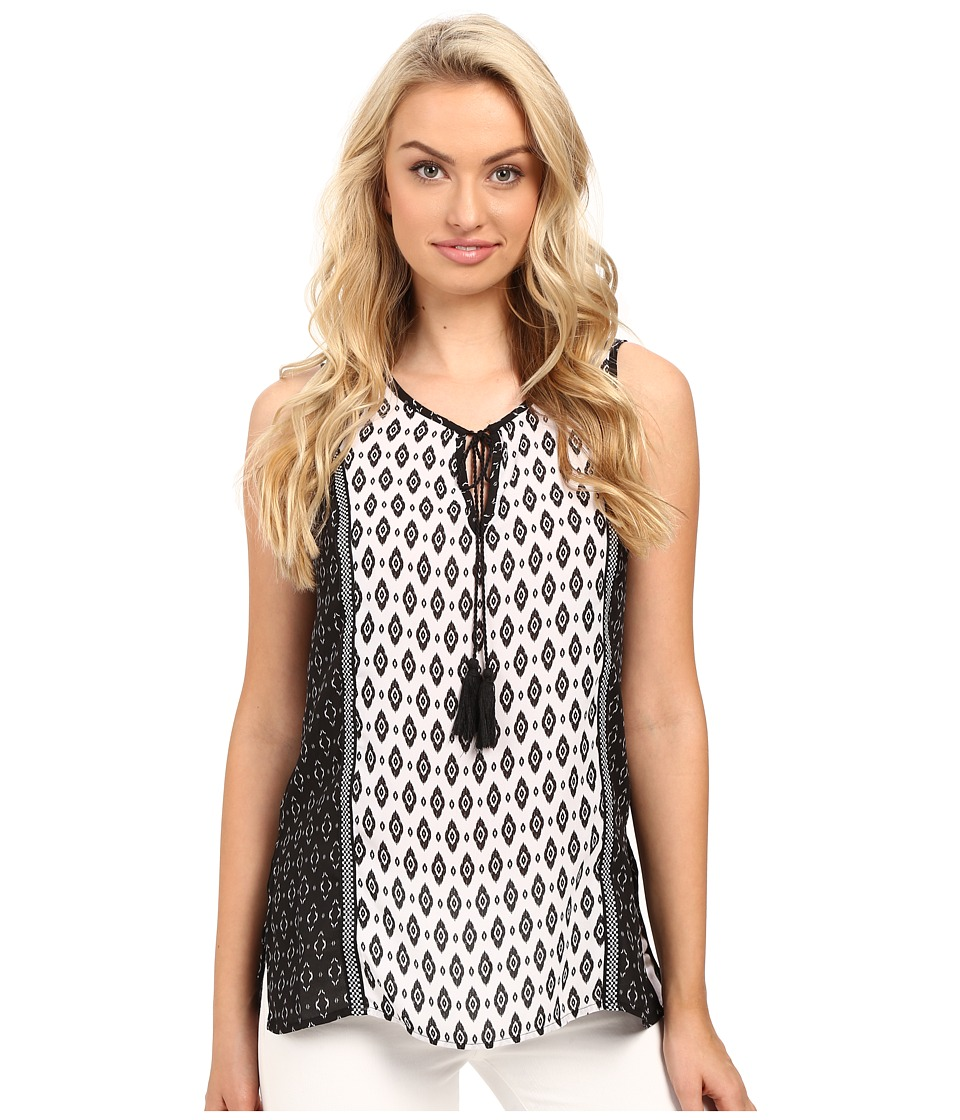 Christin Michaels - Charlie Printed Top (White/Black) Women's Clothing