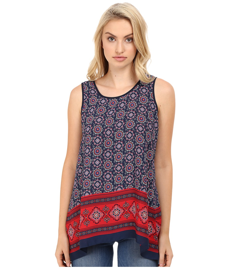 Christin Michaels - Luvleen Printed Top (Red/Blue) Women's Clothing