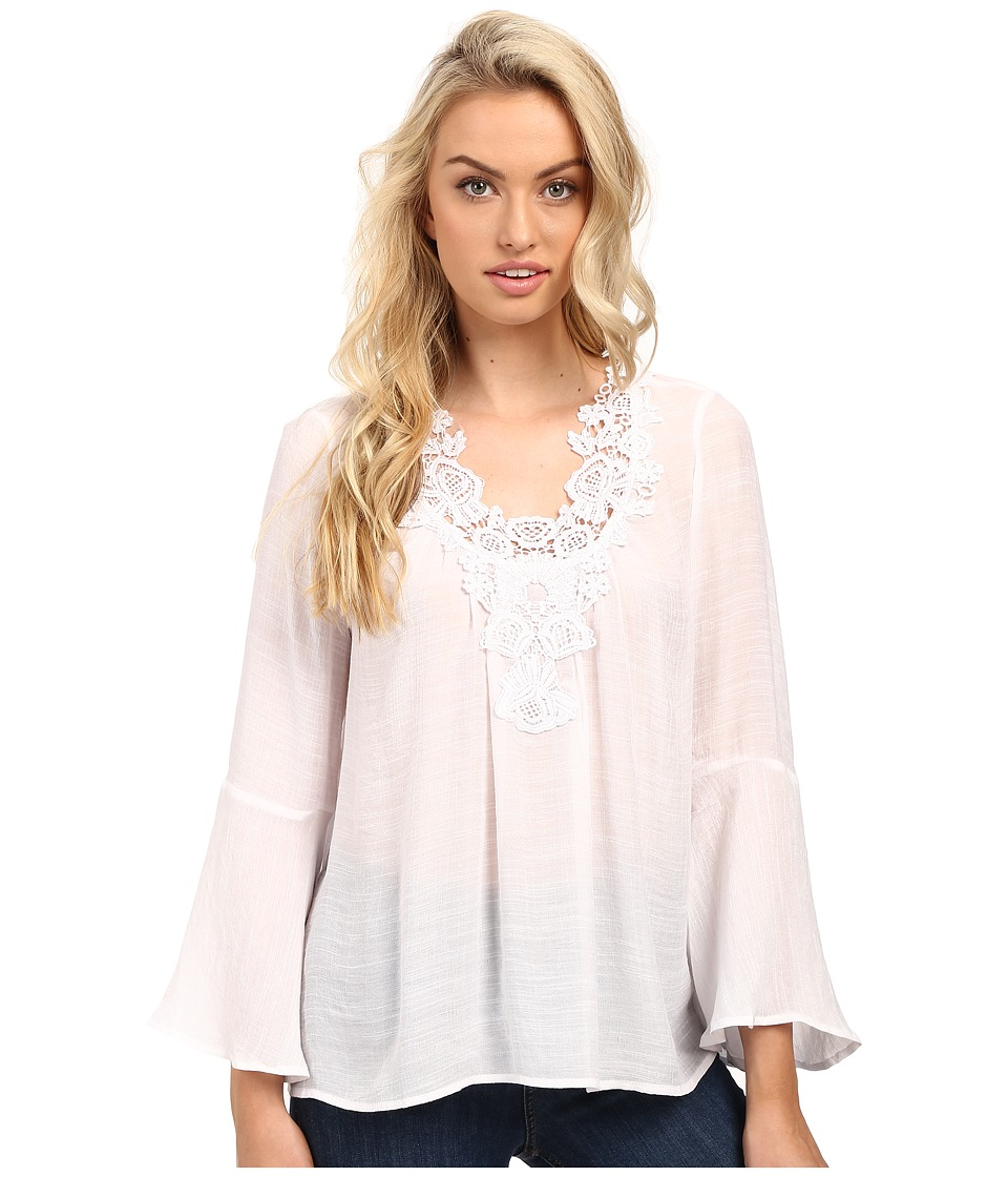 Christin Michaels - Crystal Peasant Top (White) Women's Clothing