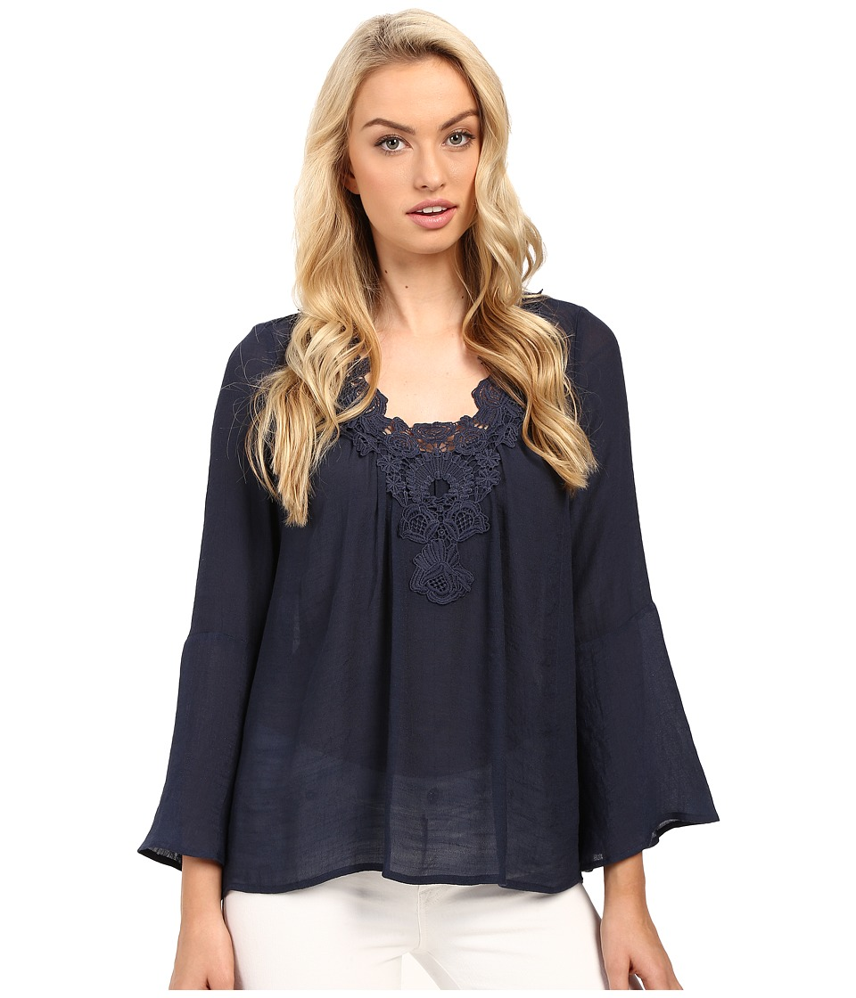 Christin Michaels - Crystal Peasant Top (Navy) Women's Clothing