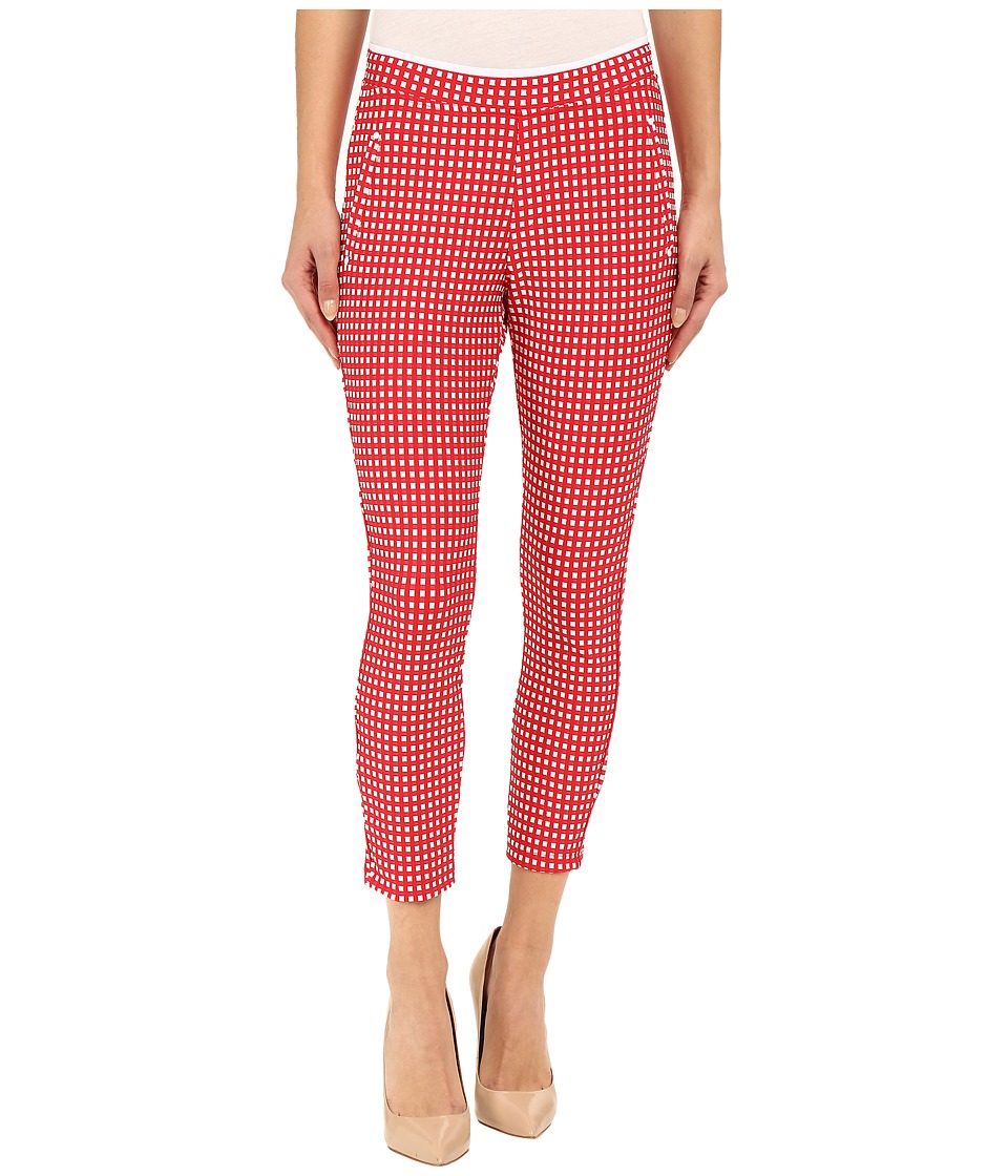 HUE - Checkered Knit Capris (Tango Red) Women's Capri