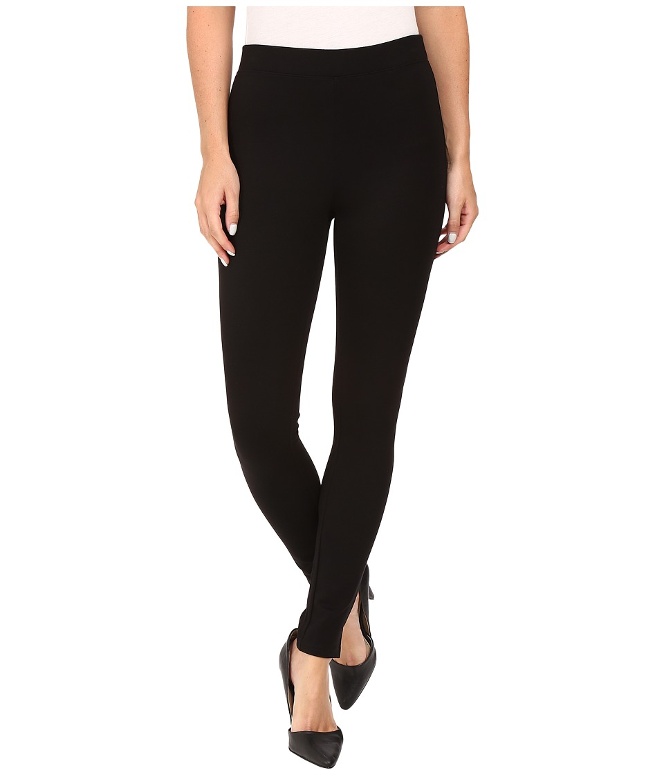 HUE - Travelista Luxe Ponte Leggings w/ Side Slit (Black) Women's Casual Pants