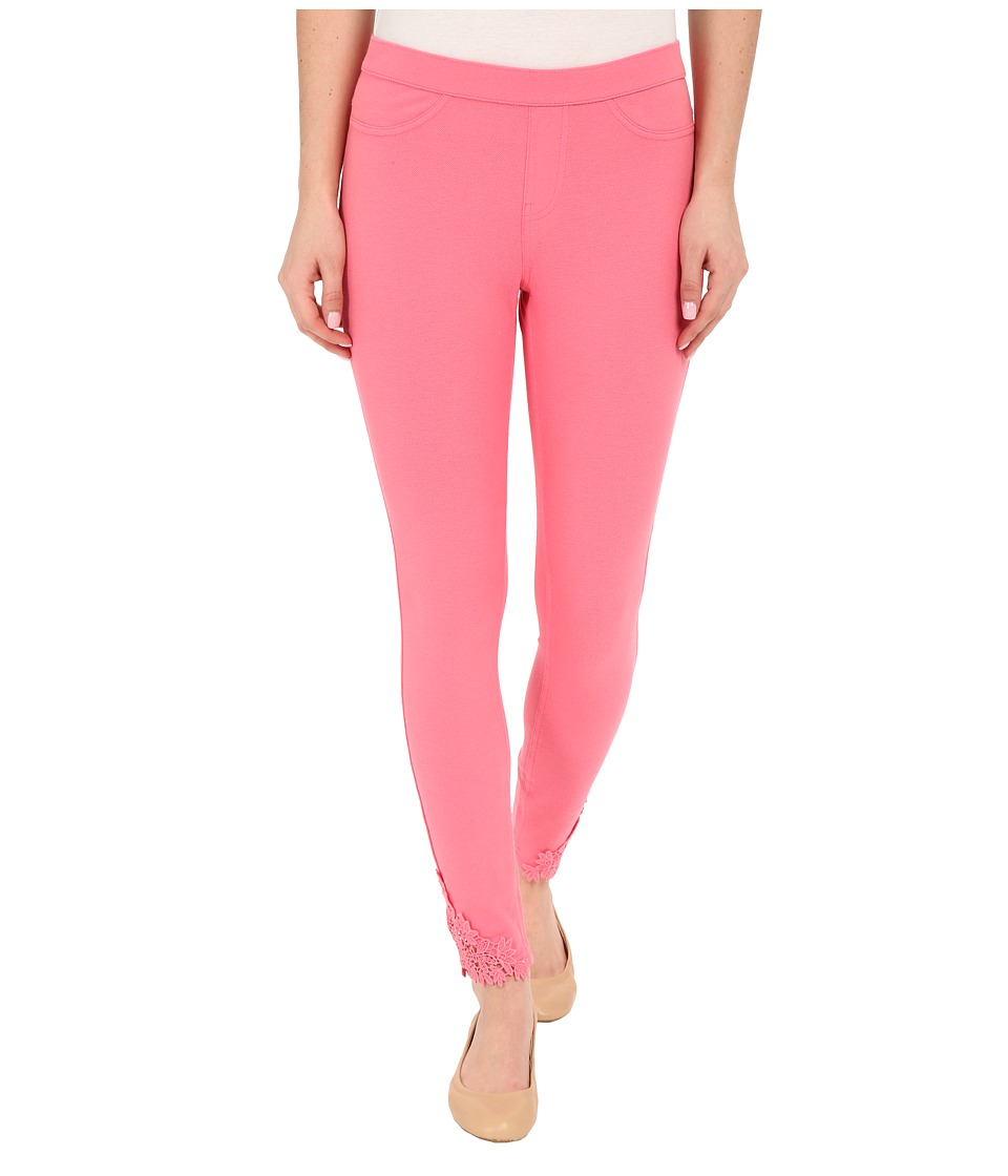 HUE - Lace Trim Pique Skimmer (Pink Lemonade) Women's Casual Pants