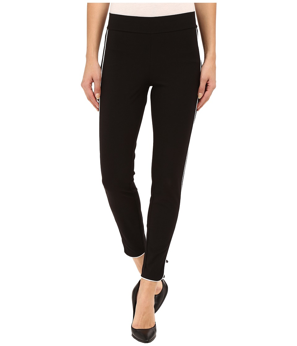 HUE - Piped Polished Twill Skimmer (Black/White) Women's Casual Pants