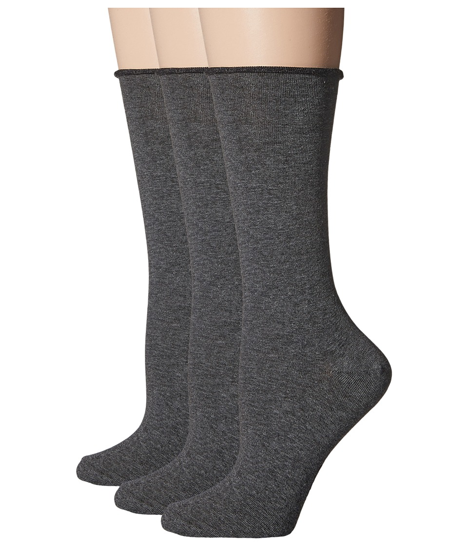 HUE - Jean Sock 3 Pack (Graphite Heather) Women's Crew Cut Socks Shoes