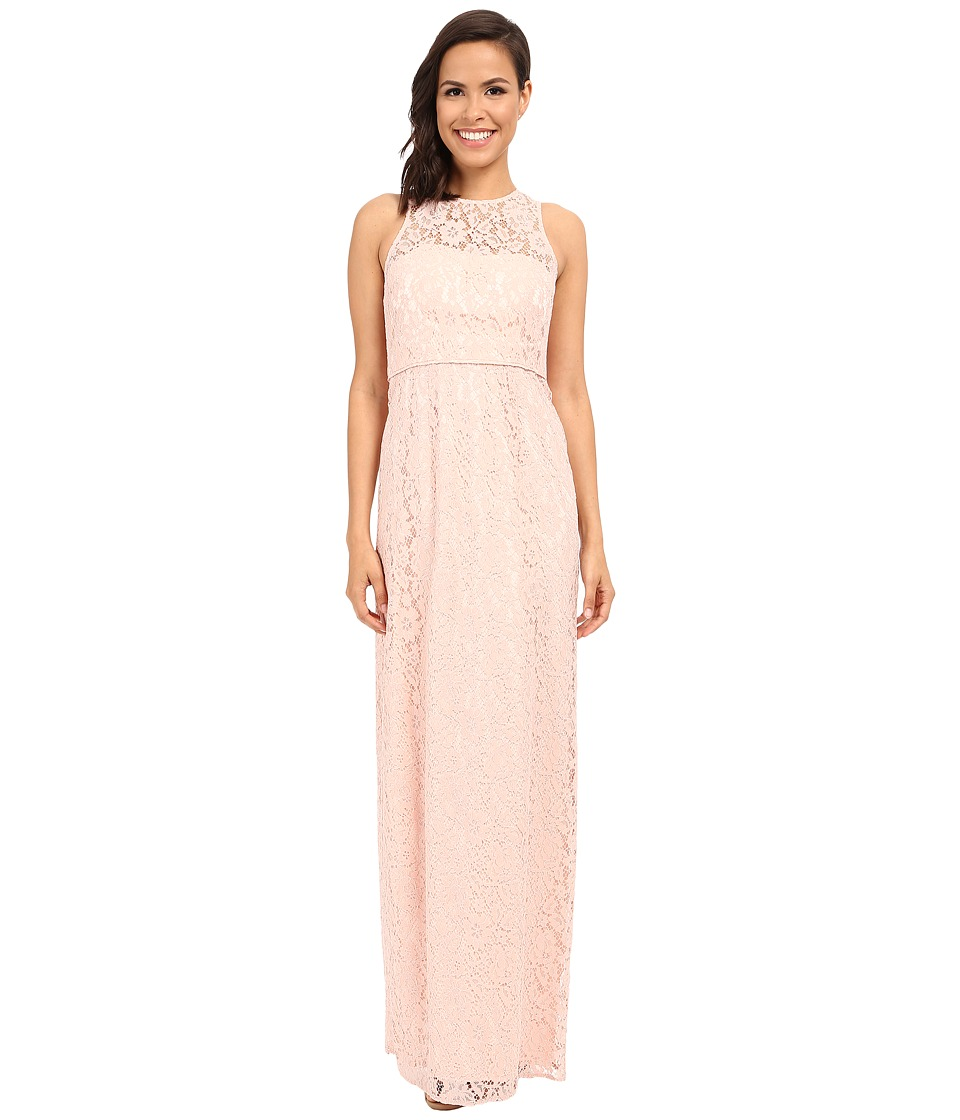 Donna Morgan Harper Illusion Neck Lace Long Gown Pearl Pink Dress