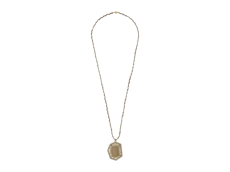 Vince Camuto - Pave Border Stone Pendant Necklace (Worn Gold/Milky Grey/Crystal/Grey) Necklace