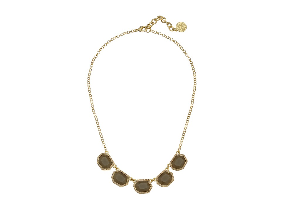 Vince Camuto - Multi Stone Necklace (Worn Gold/Milky Grey/Light Peach Pave) Necklace