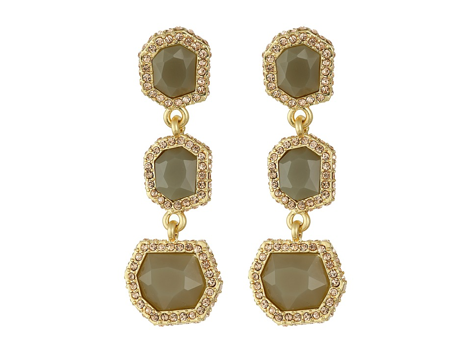 Vince Camuto - 3 Part Stone Earrings (Worn Gold/Milky Grey/Light Peach Pave) Earring