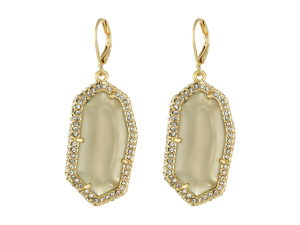 Vince Camuto - Pave Border Stone Earrings (Worn Gold/Milky Grey/Crystal) Earring
