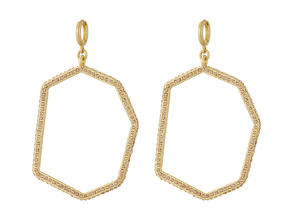 Vince Camuto - Huggie Statement Open Drop Earrings (Worn Gold/Light Peach Pave) Earring