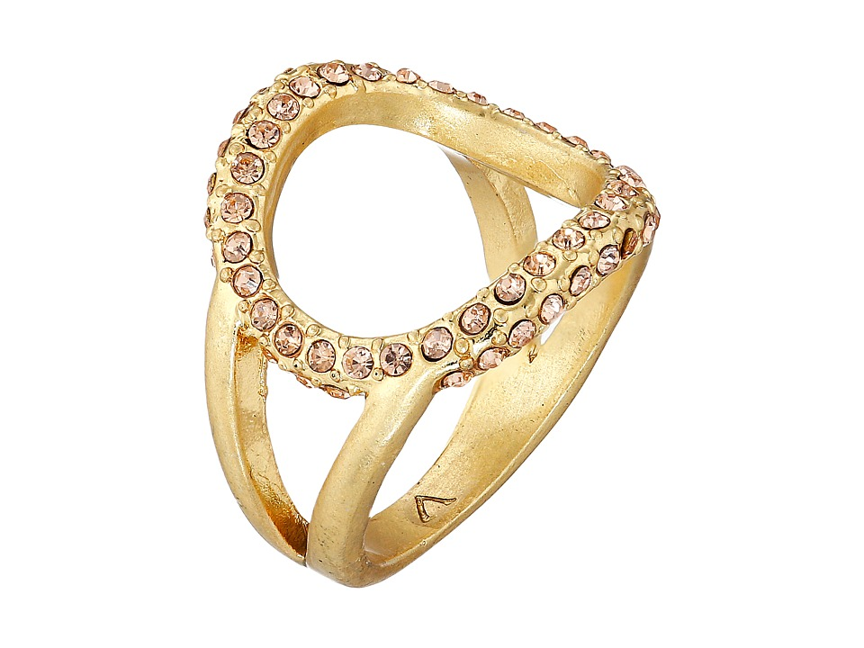 Vince Camuto - Dainty Open Pave Ring (Worn Gold/Light Peach Pave) Ring